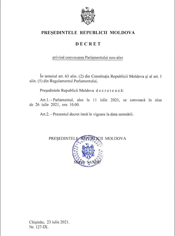 Maia Sandu a semnat decretul de convocare a noului parlament. Când va avea loc prima ședință?