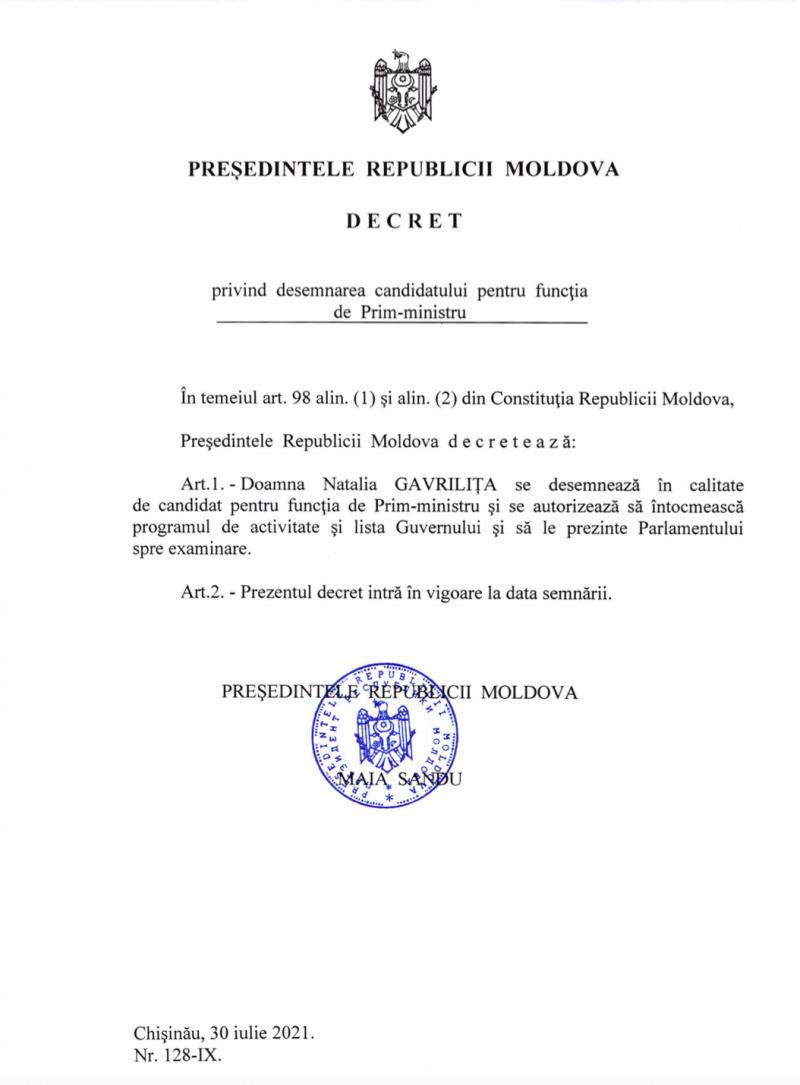 Maia Sandu a nominalizat-o pe Natalia Gavrilița drept candidat la funcția de prim-ministru