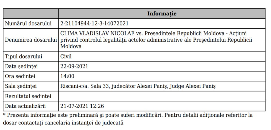A fost stabilită data primei ședințe de judecată în procesul intentat de Vladislav Clima împotriva Maiei Sandu