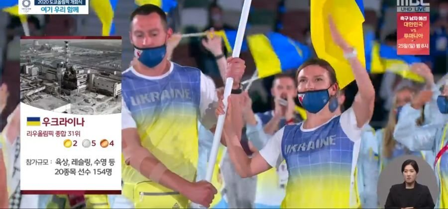 Южнокорейское TVсопроводило выход сборной Украины вТокио фотографией аварии вЧернобыле (ФОТО)