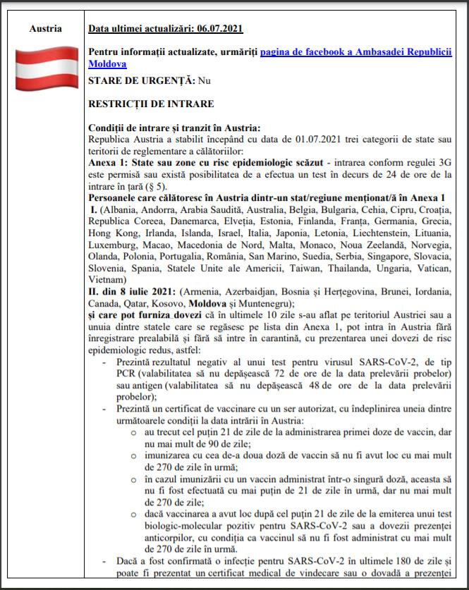 De mâine, moldovenii pot călători în Austria fără să fie obligați să stea în carantină (DOC)