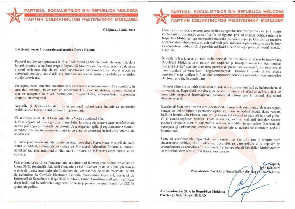 """Dodon, scrisoare ambasadorului SUA: """"Acțiunile misiunii diplomatice americane sunt inacceptabile"""" (DOC)"""