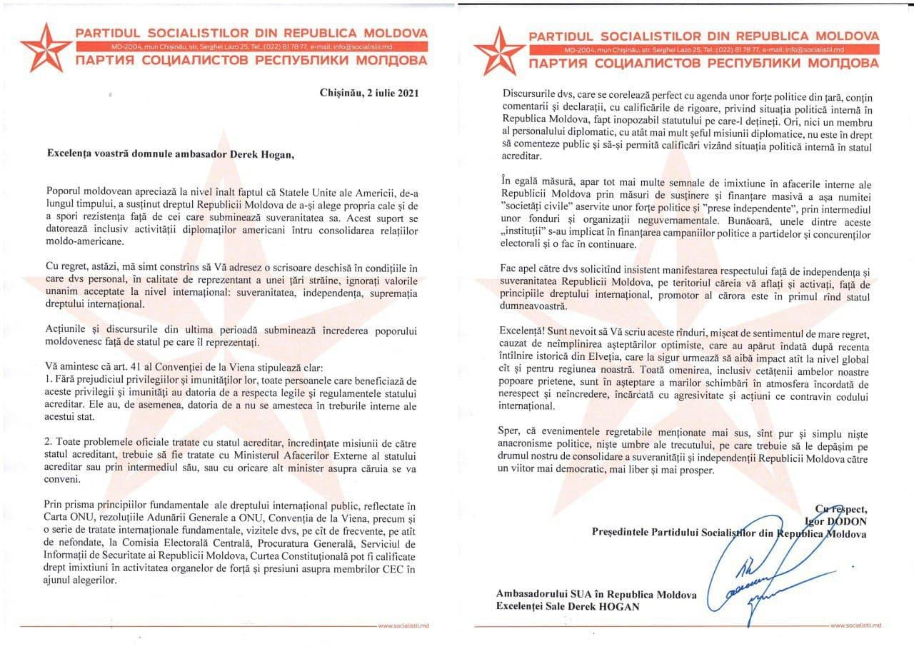 Додон вручил Хогану письмо «онеприемлемых шагах дипмиссии США»