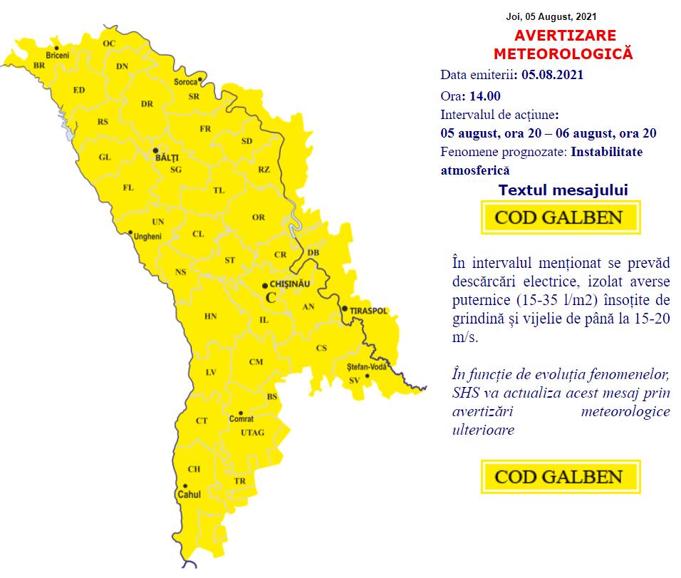 Cod galben de ploi în toată țara. Meteorologii prognozează precipitații însoțite de grindină și vijelie