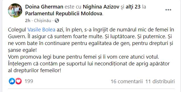 """Doina Gherman, replică pentru Vasile Bolea: """"Contăm pe suportul lui necondiționat de aprig apărător al drepturilor femeilor"""""""
