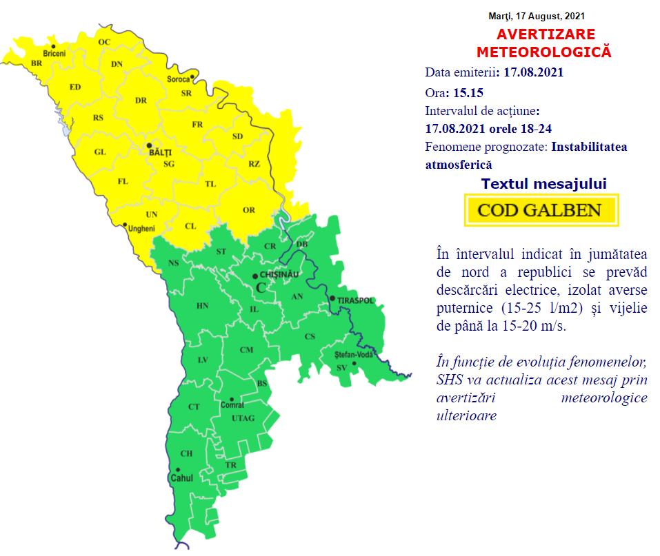 Avertizare meteo: Cod Galben de ploi și vijelie, însă nu în toată țara