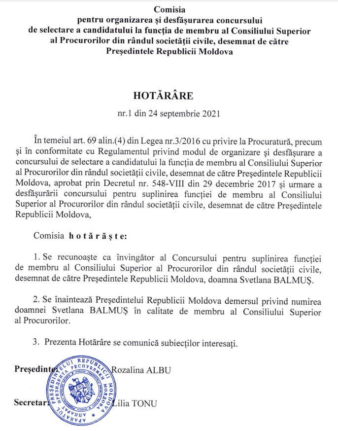 Svetlana Balmuș a fost propusă la funcția de membru al Consiliului Superior al Procurorilor din rândul societății civile