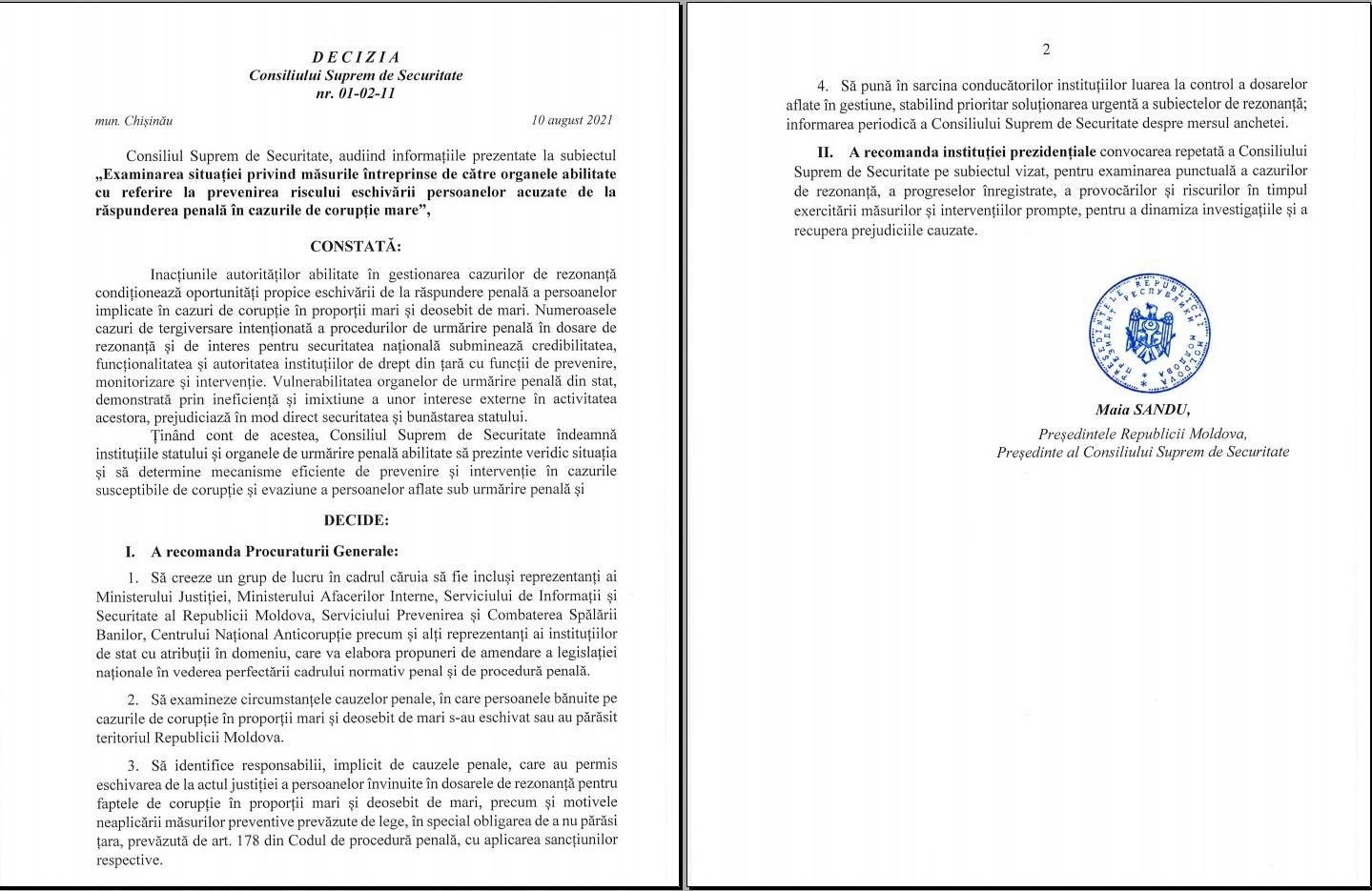Stoianoglo cere explicații de la Maia Sandu, în calitate de președintă a Consiliului Suprem de Securitate (DOC)