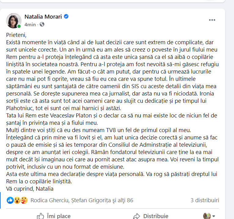 Natalia Morari ia o pauză de pe ecrane: Sunt șantajată de SIS, pentru că Veaceslav Platon este tatăl copilului meu