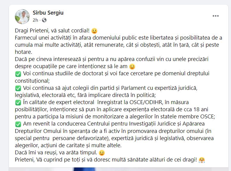 """""""Voi continua să ajut colegii din partid și Parlament"""". Sergiu Sîrbu a dezvăluit cu ce se ocupă de când nu mai e deputat"""