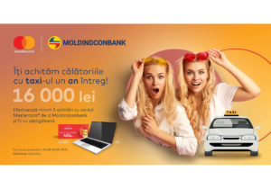 Moldindconbank și Mastercard te plimbă gratuit un an întreg cu taxi-ul
