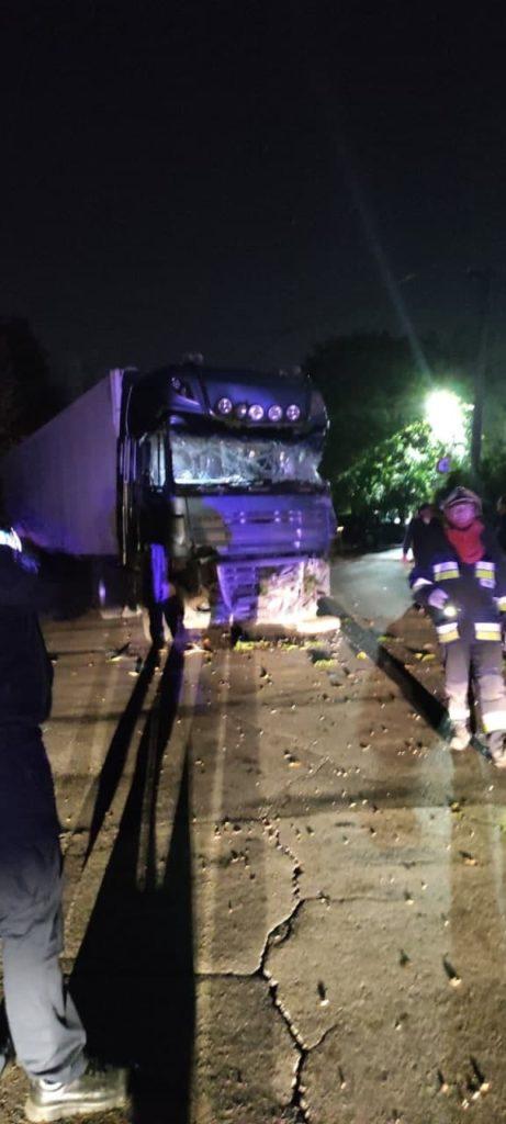 Un camion a intrat într-o casă de pe șoseaua Hâncești și a doborât un copac și doi piloni electrici (FOTO)