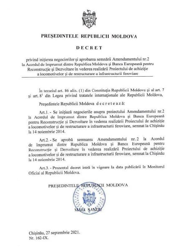 Молдова получит отЕБРР €24 млн навосстановление железнодорожной инфраструктуры