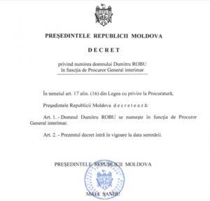 Dumitru Robu este procuror general interimar. Președinta Maia Sandu a semnat decretul (DOC)