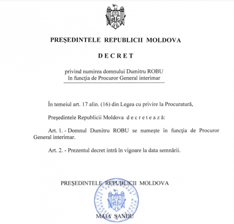 Санду подписала указ оназначении Робу и.о. генпрокурора (DOC)