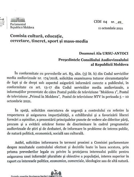 Deputata Liliana Nicolaescu-Onofrei cere verificarea conținutului audiovizual difuzat la trei posturi de televiziune (DOC)